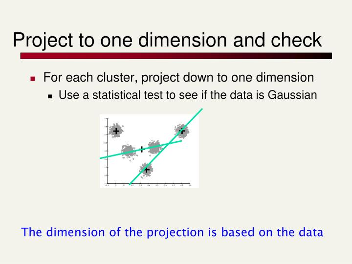 Project to one dimension and check