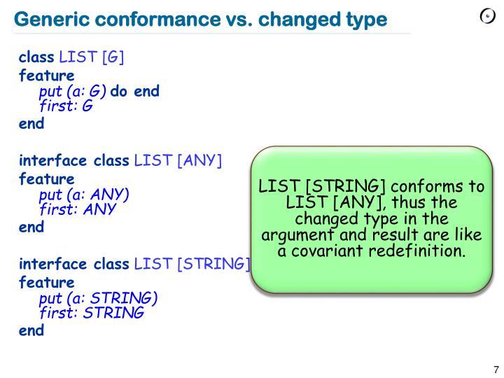 Generic conformance vs. changed type