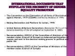 international documents that stipulate the necessity of gender equality promotion