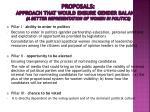 proposals approach that would ensure gender balance a better representation of women in politics