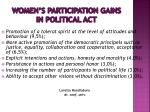 women s participation gains in political act