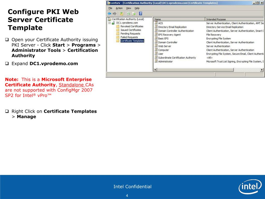 PPT - Configure PKI Web Server Certificates for each