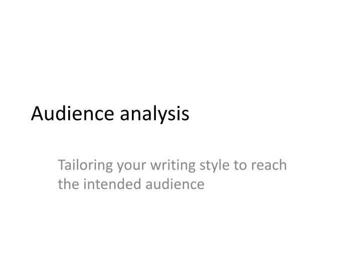 audience analysis n.
