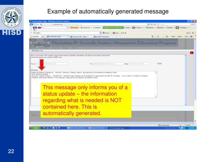 Example of automatically generated message