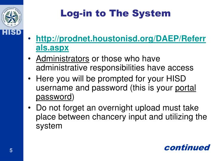 Log-in to The System