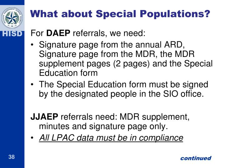 What about Special Populations?