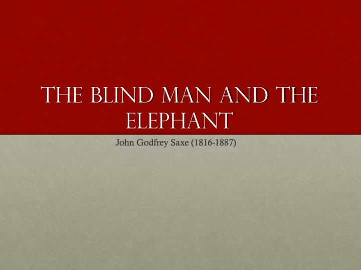 the blind man and the elephant n.