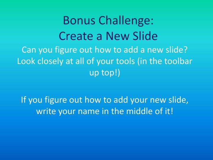 Bonus Challenge: