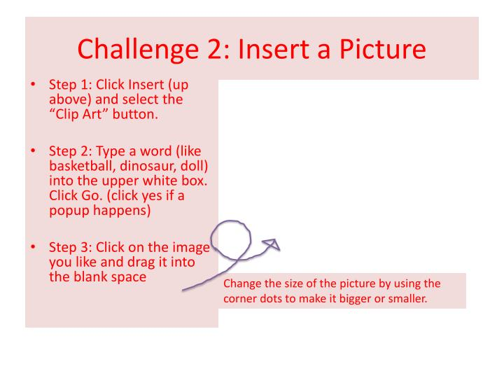 Challenge 2 insert a picture