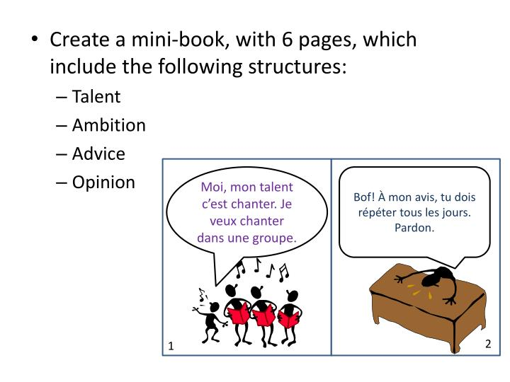 Create a mini-book, with 6 pages, which include the following structures: