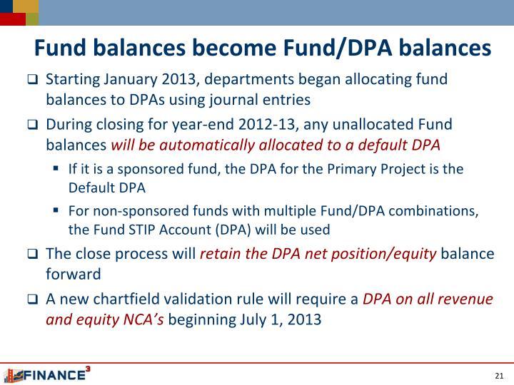 Fund balances become Fund/DPA balances