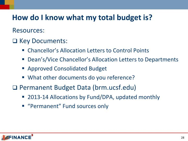 How do I know what my total budget is?