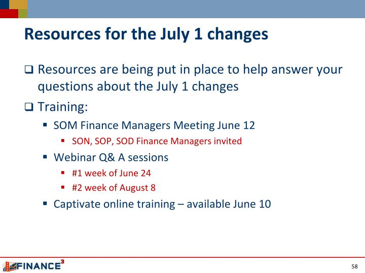 Resources for the July 1 changes