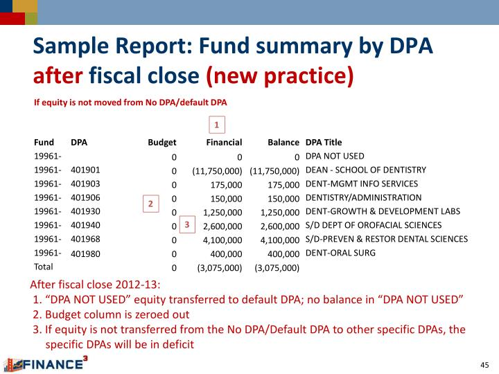 Sample Report: Fund summary by DPA