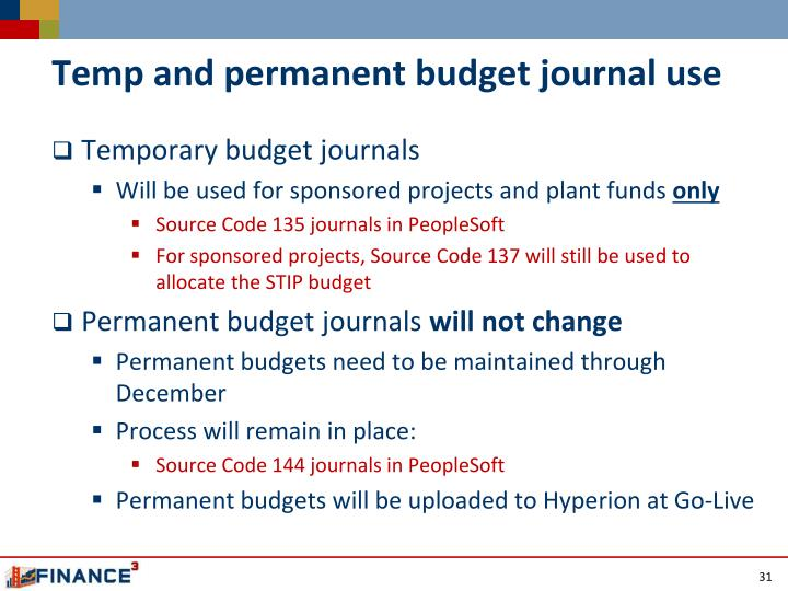 Temp and permanent budget journal use