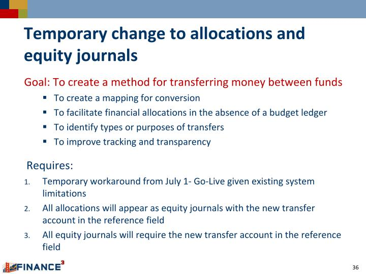Temporary change to allocations and equity journals