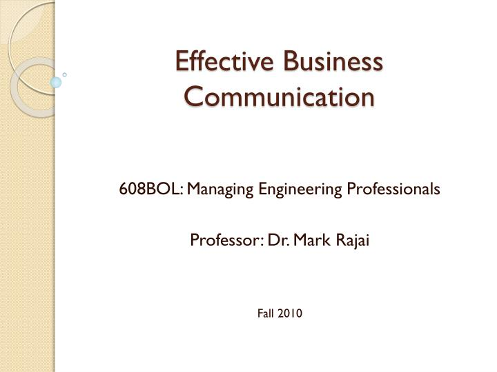 effective business communication n.