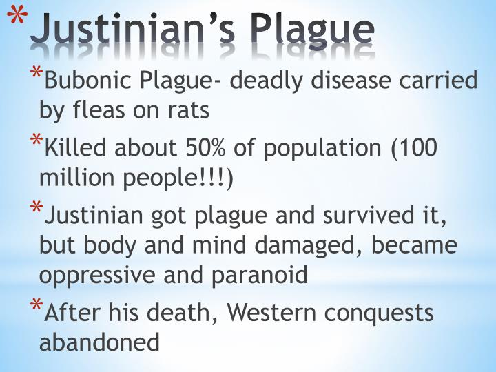 Bubonic Plague- deadly disease carried by fleas on rats