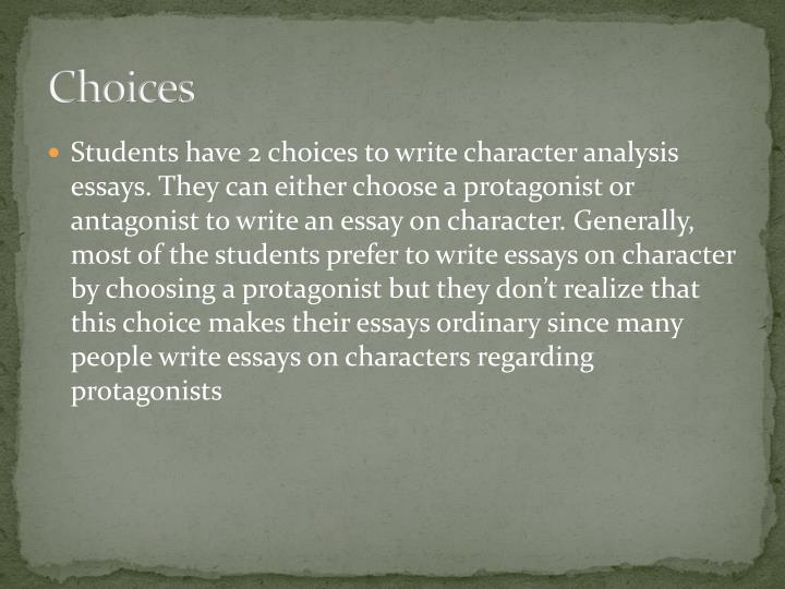 character analysis essay powerpoint Characterization or characterisation is the representation of persons in narrative  and dramatic works of art this representation may include direct methods like.