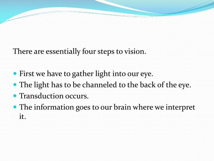 There are essentially four steps to vision.
