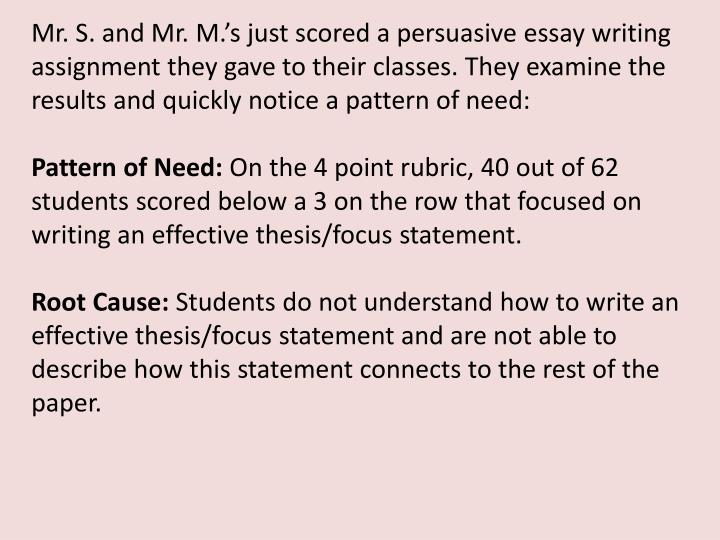 Mr. S. and Mr. M.'s just scored a persuasive essay writing assignment they gave to their classes. They examine the results and quickly notice a pattern of need: