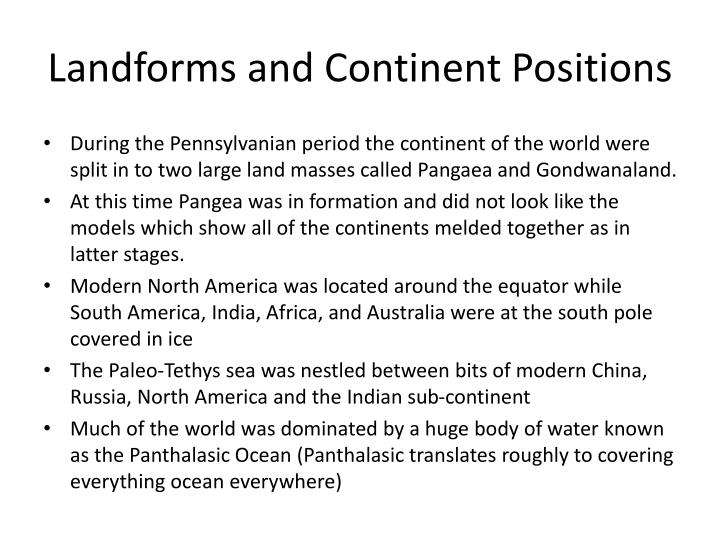 Landforms and Continent Positions