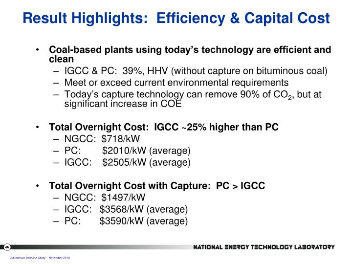 Result Highlights:  Efficiency & Capital Cost