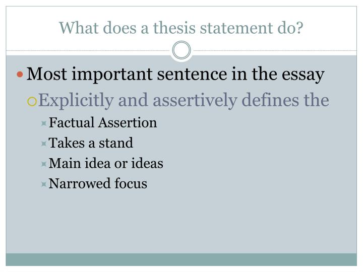what does a descriptive thesis statement do Composing a thesis statement does take a bit more thought than many other parts of an essay however, because a thesis statement can contain an entire argument in just a few words, it is worth taking the extra time to compose this sentence it can direct your research and your argument so that.
