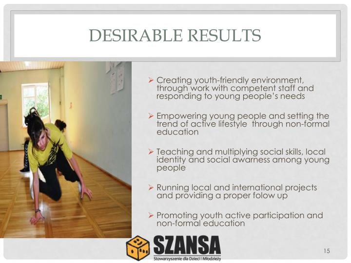 DESIRABLE RESULTS