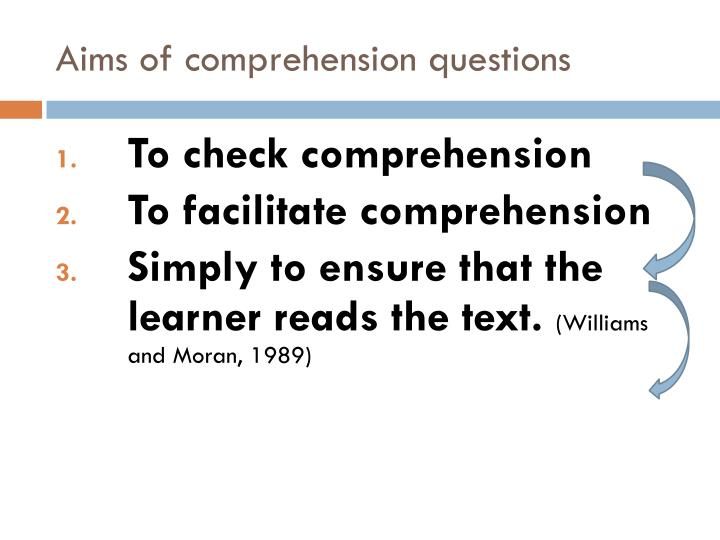 Aims of comprehension questions