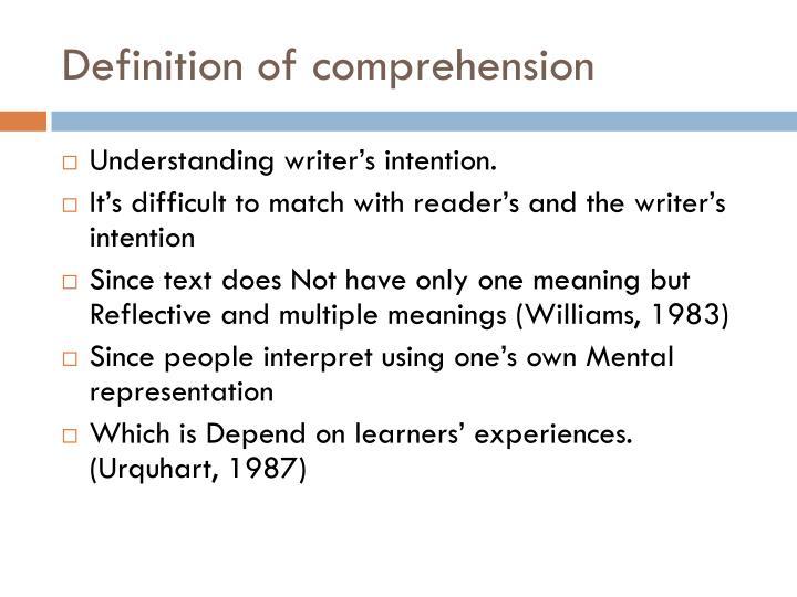 Definition of comprehension