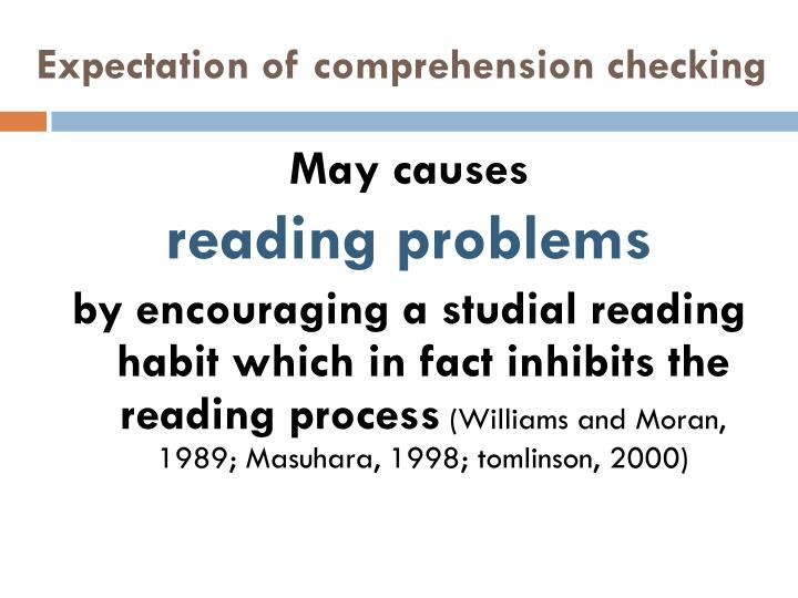 Expectation of comprehension checking