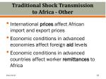 traditional shock transmission to africa other