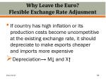 why leave the euro flexible exchange rate adjusment