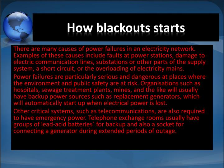 How blackouts starts
