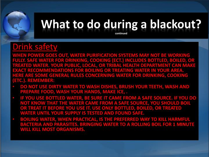 What to do during a blackout