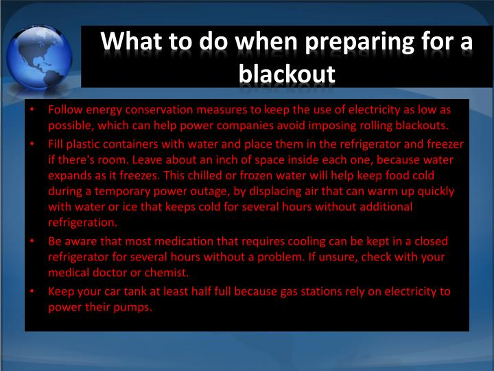 What to do when preparing for a blackout
