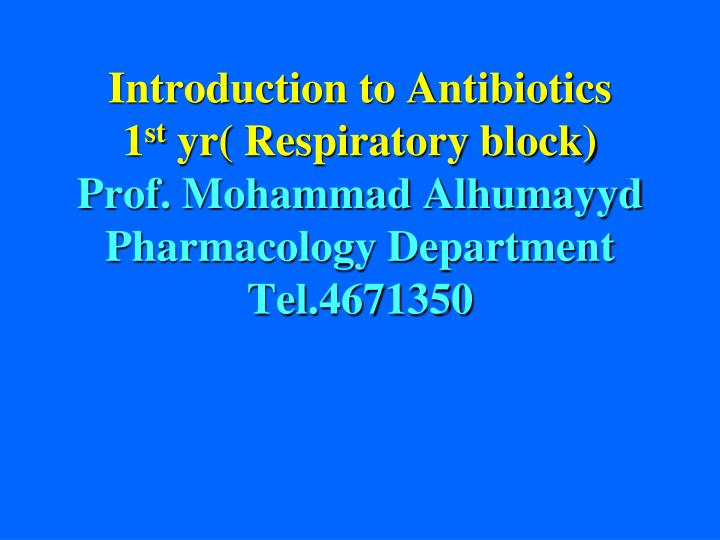 introduction to antibiotics