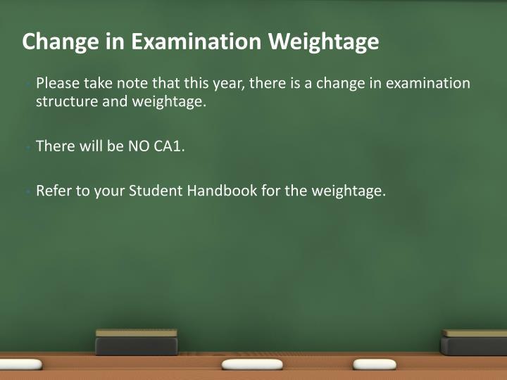 Change in Examination Weightage