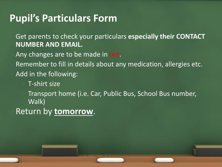 Pupil's Particulars Form