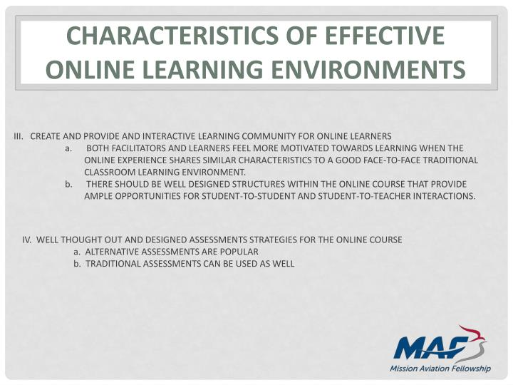 CHARACTERISTICS OF EFFECTIVE online learning environments