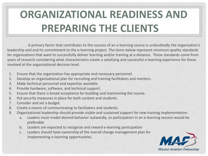 Organizational readiness and preparing the clients