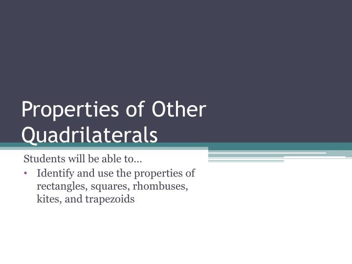 properties of other quadrilaterals n.