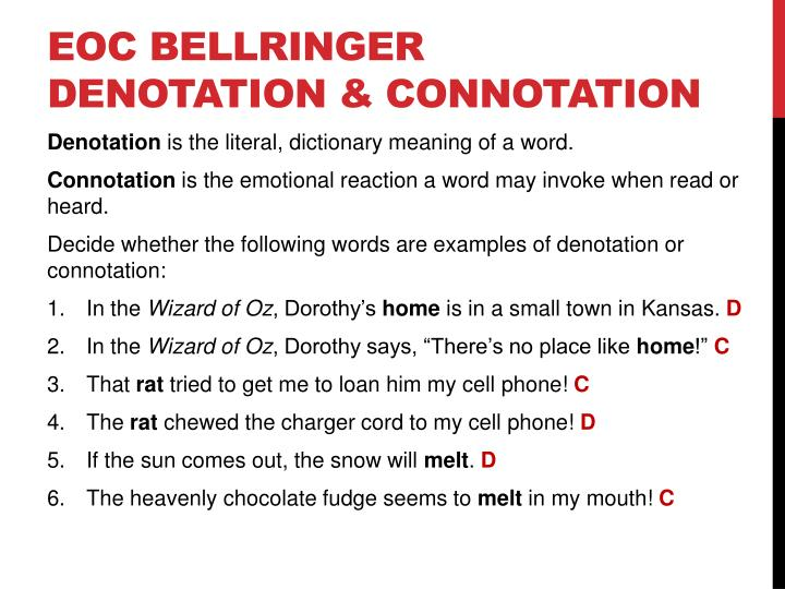 Ppt Eoc Bellringer Denotation Amp Connotation Powerpoint