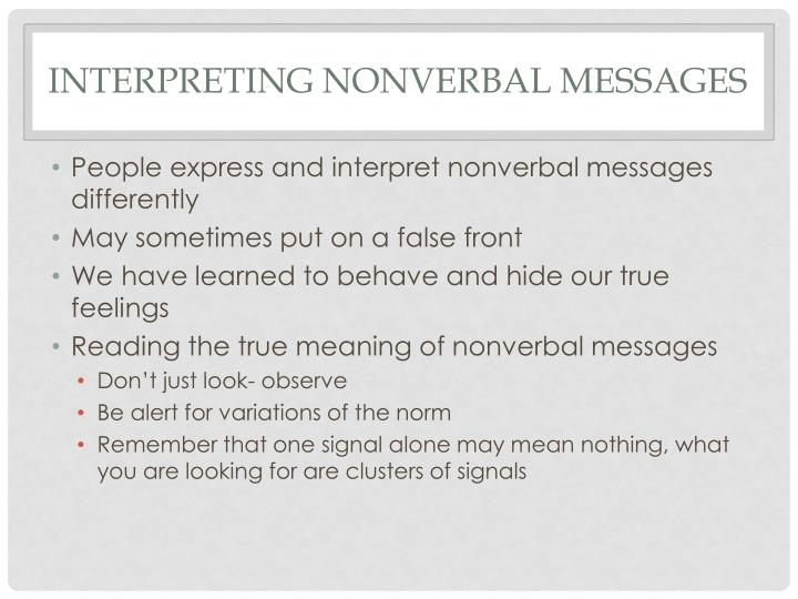 Interpreting nonverbal messages