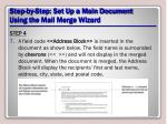 step by step set up a main document using the mail merge wizard13