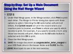 step by step set up a main document using the mail merge wizard21