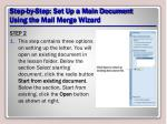 step by step set up a main document using the mail merge wizard3