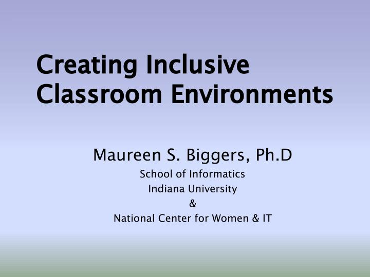 creating inclusive classroom environments n.