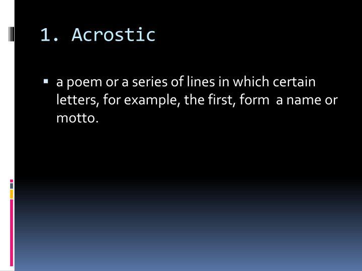 1 acrostic